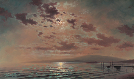 Andrew Grant Kurtis, Original oil painting on panel, Moonlight  No frame image. Click to enlarge