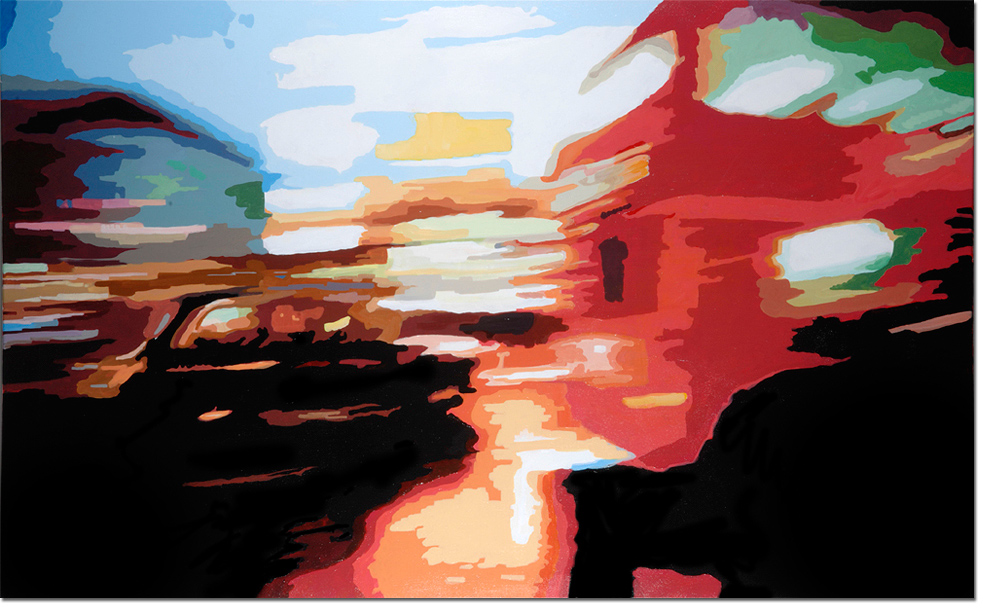 Annie Ralli, Original acrylic painting on canvas, Traffic Noise, click to enlarge