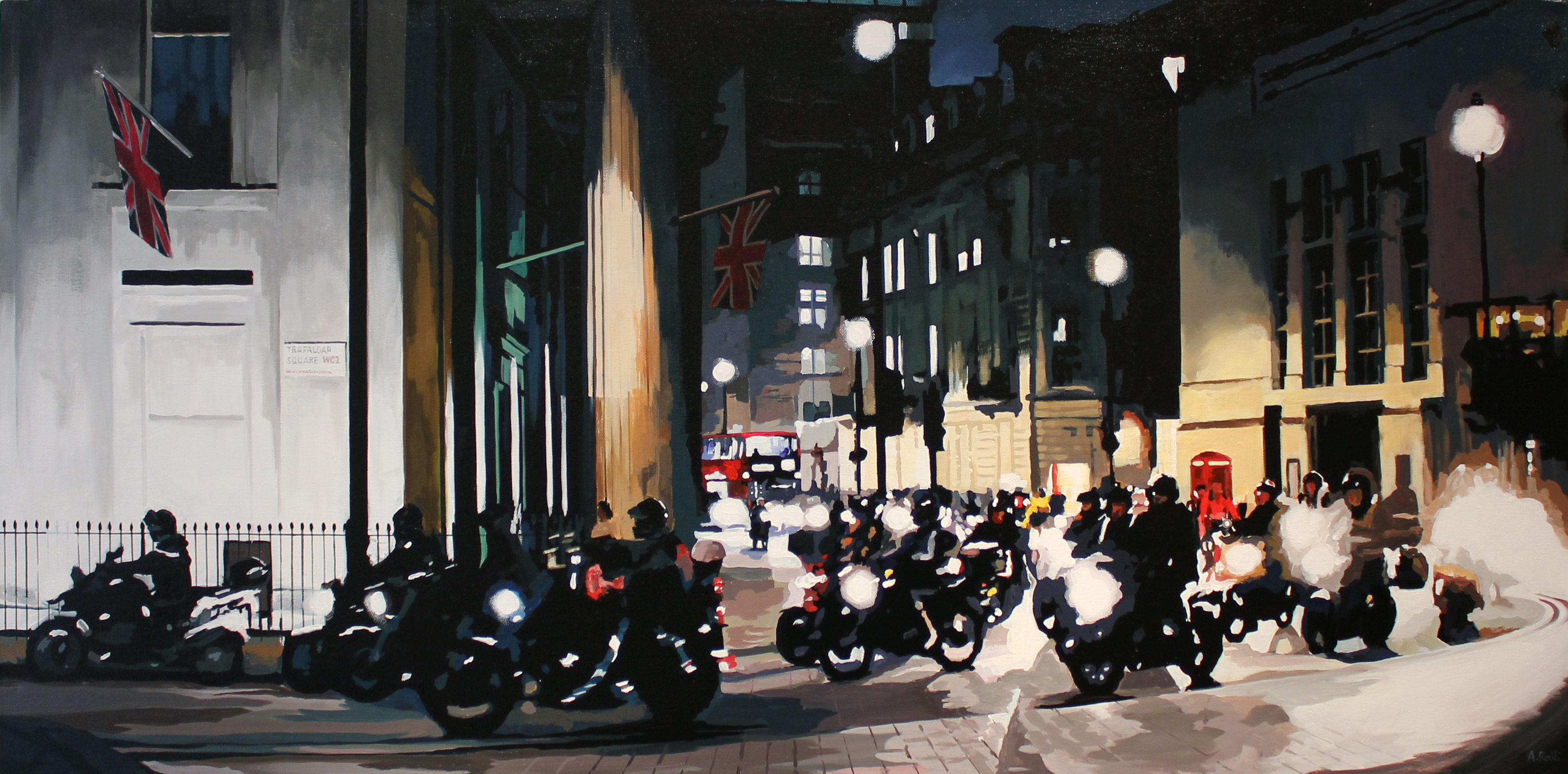 Annie Ralli, Original acrylic painting on canvas, Bikers in Trafalgar Square, click to enlarge
