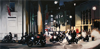 Annie Ralli, Original acrylic painting on canvas, Bikers in Trafalgar Square