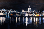 Annie Ralli, Original acrylic painting on canvas, Millenium Bridge and St. Paul's