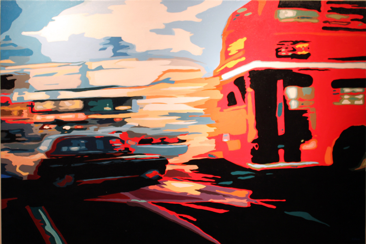 Annie Ralli, Original acrylic painting on canvas, Rush Hour, click to enlarge