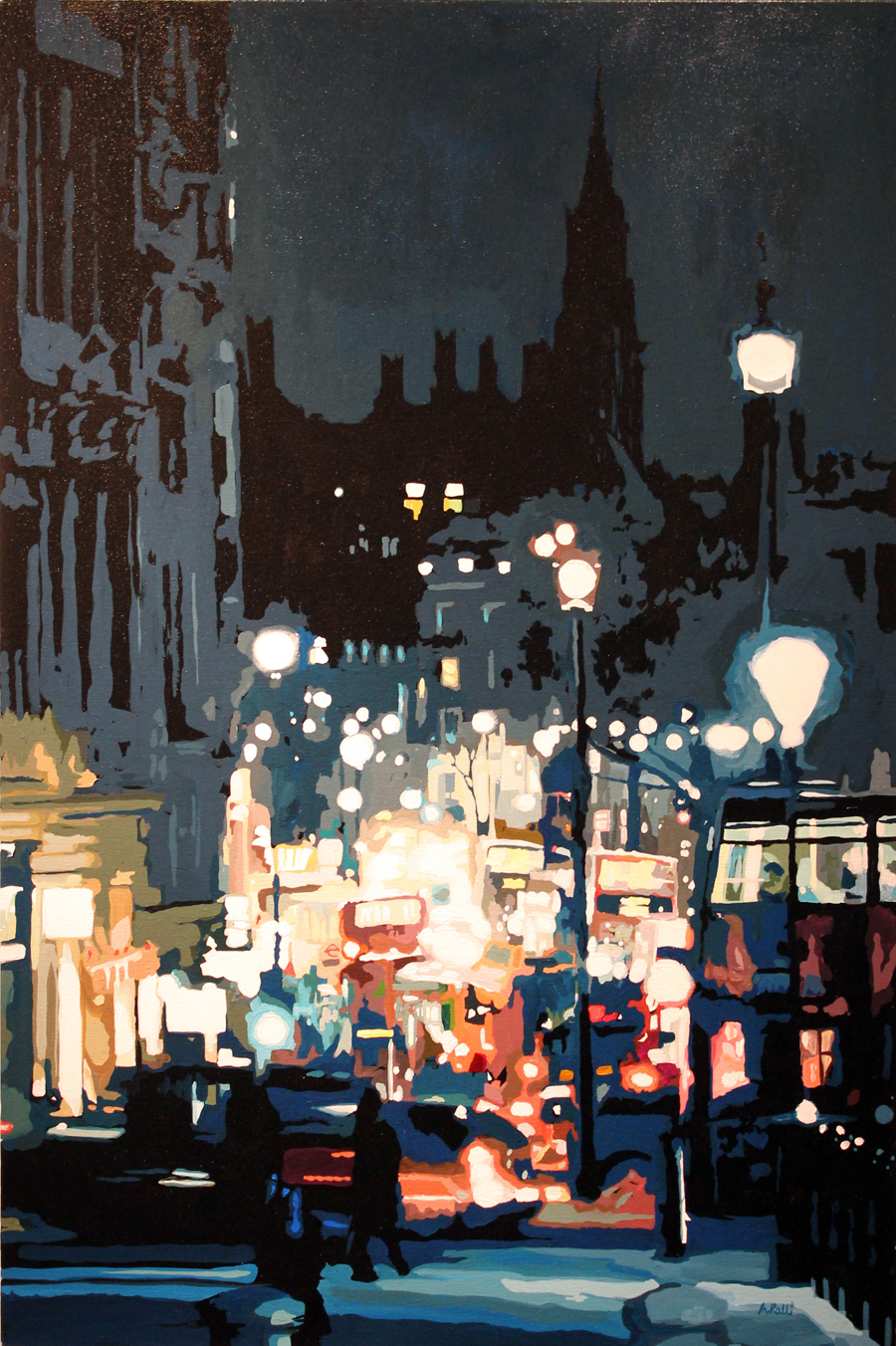 Annie Ralli, Original acrylic painting on canvas, Whitehall from Trafalgar Square, click to enlarge