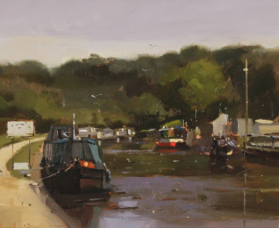Michael John Ashcroft, MAFA, Green and Gold, Original oil painting on panel