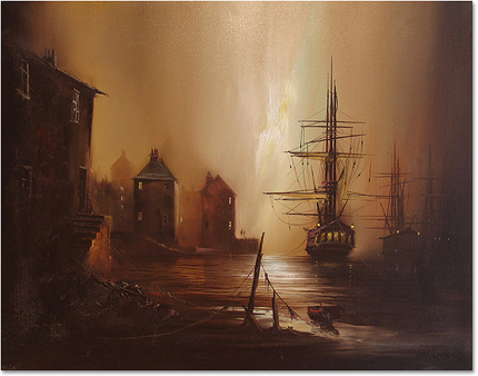 Barry Hilton, Original oil painting on canvas, Harbour Scene Without frame image. Click to enlarge