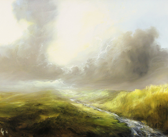 Clare Haley, Music of a Moorland Stream, Original oil painting on panel
