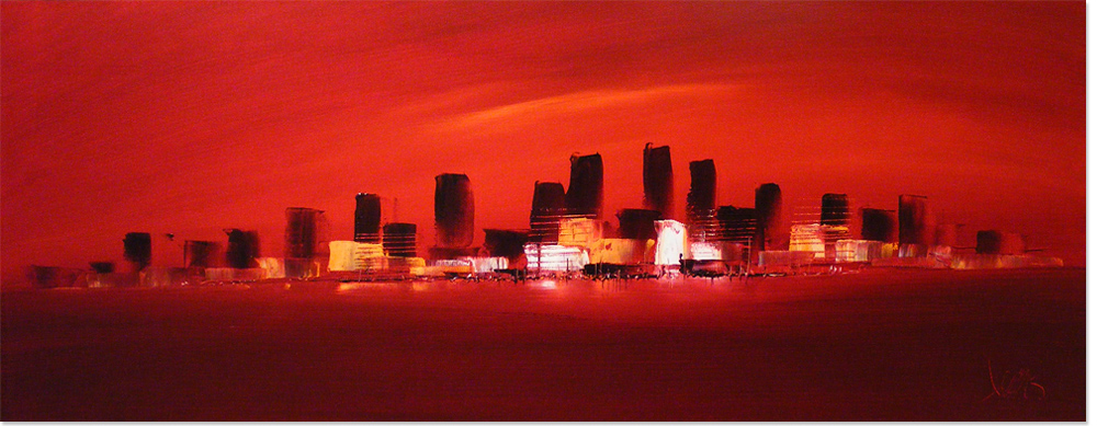 Dennis Wood, Original acrylic painting on canvas, New York Cityscape. Click to enlarge