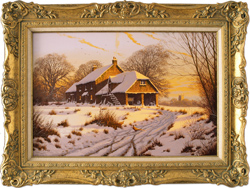 Edward Hersey, Cotswolds Farm in Snow, Original oil painting on canvas