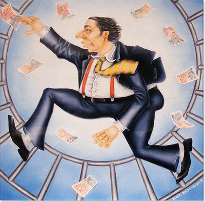 Elena Kourenkova, Original oil painting on panel, Rat Race Without frame image. Click to enlarge