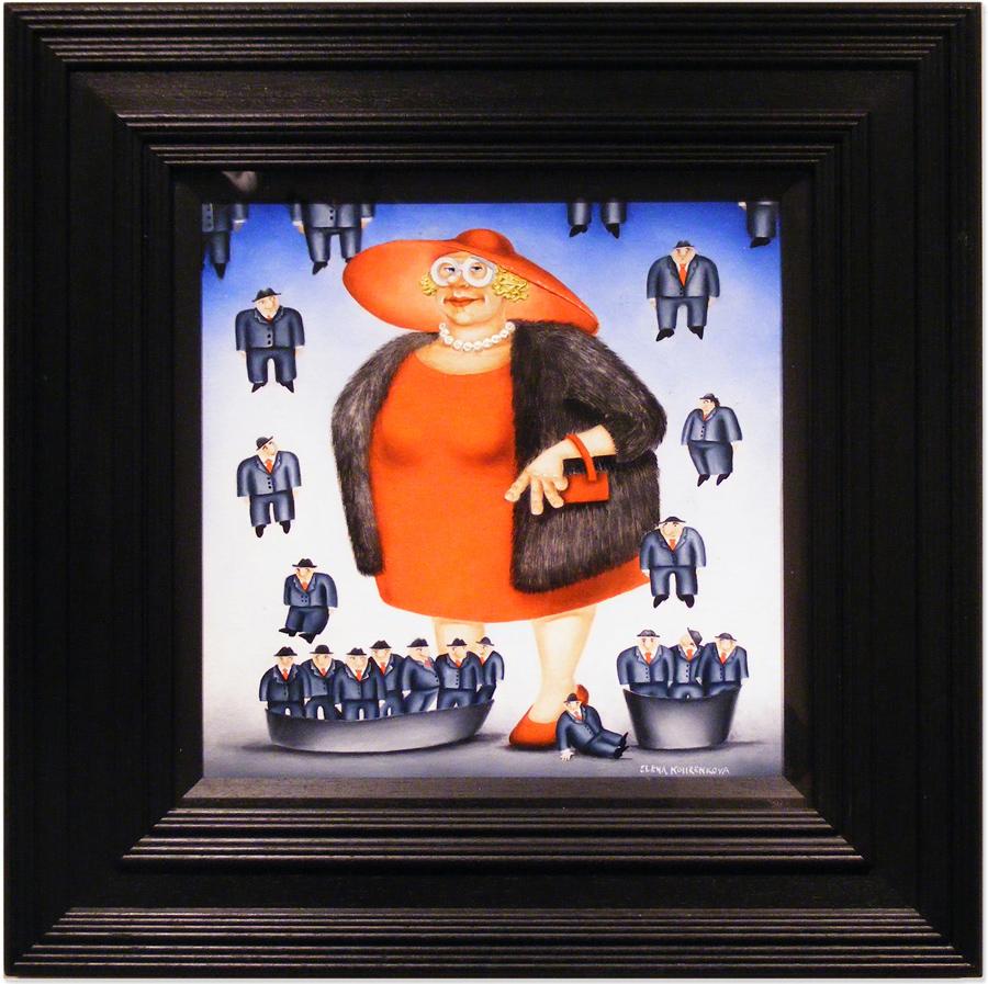 Elena Kourenkova, Original oil painting on panel, It's Raining Men , click to enlarge