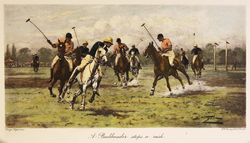 Engraving, Hand coloured restrike engraving, A Backhander Stops a Push Large image. Click to enlarge