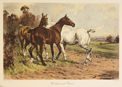 Engraving, Hunters at Grass, Hand coloured restrike engraving