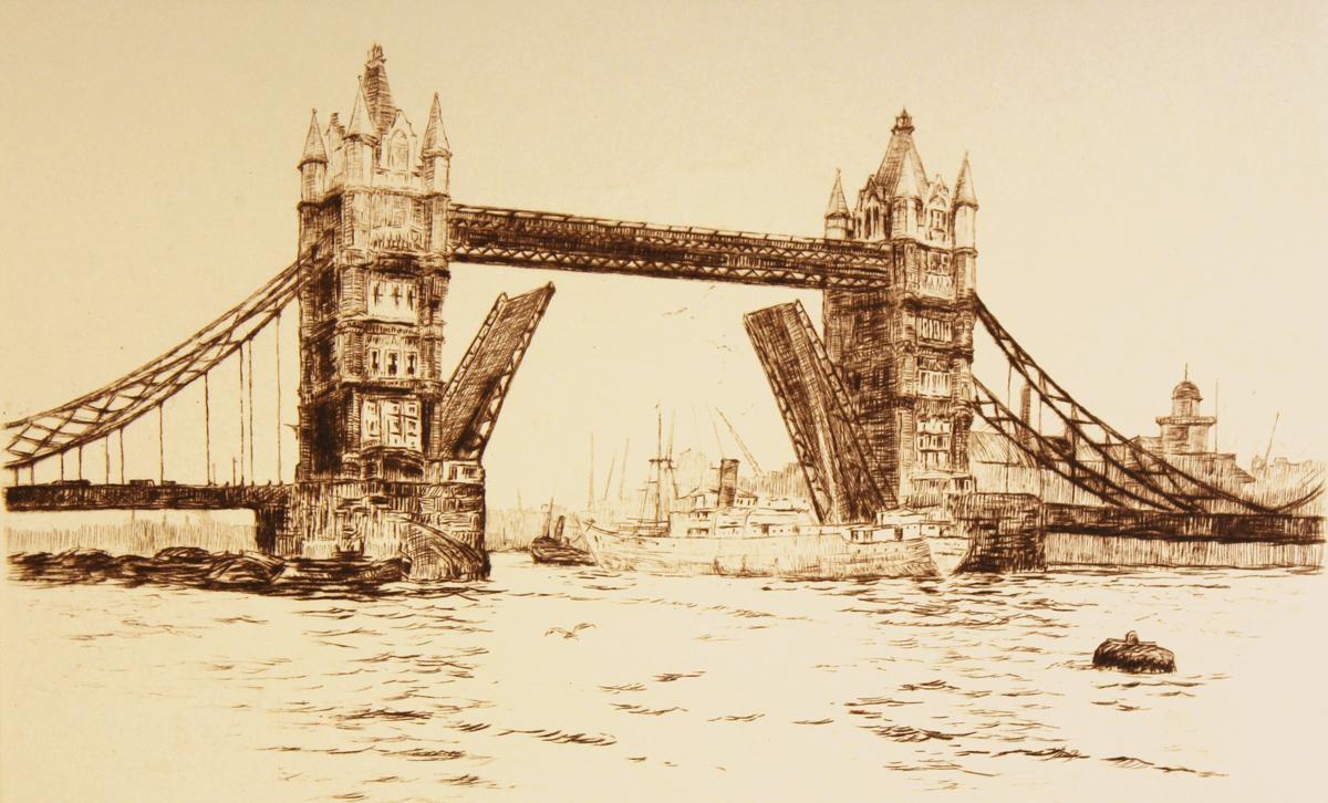 Engraving, Hand coloured restrike engraving, London View, Tower Bridge. Click to enlarge