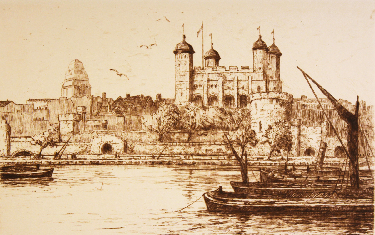 Engraving, Hand coloured restrike engraving, London View, Tower of London. Click to enlarge