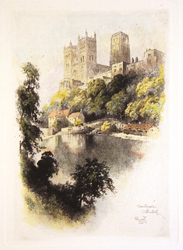 Engraving, Hand coloured restrike engraving, Durham Cathedral  Large image. Click to enlarge