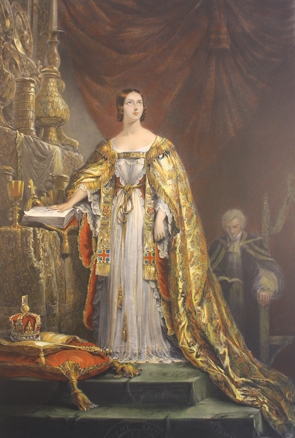 Engraving, Hand coloured restrike engraving, Queen Victoria Taking the Oath , click to enlarge
