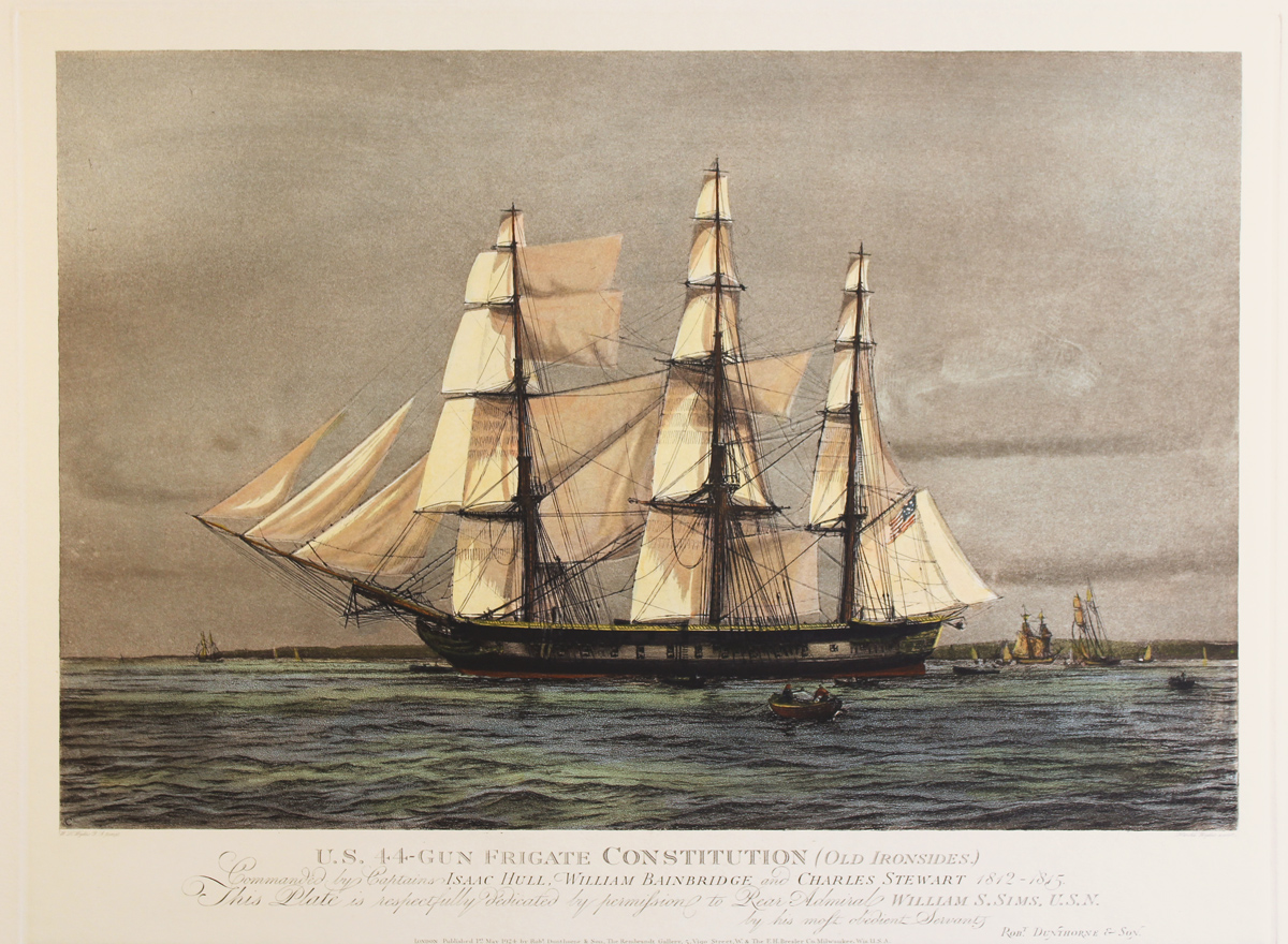 Engraving, Hand coloured restrike engraving, The Constitution (Old Ironsides). Click to enlarge