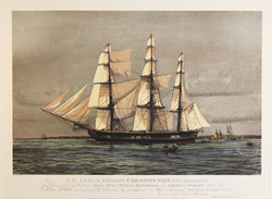Engraving, The Constitution (Old Ironsides), Hand coloured restrike engraving
