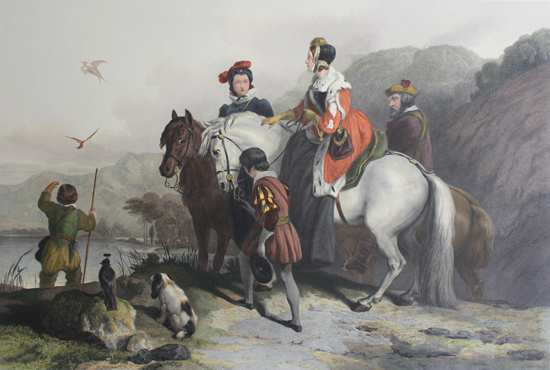 Engraving, Hand coloured restrike engraving, The Hawking Party No frame image. Click to enlarge