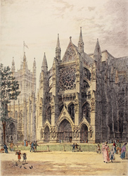 Engraving, Hand coloured restrike engraving, Westminster, North Porch