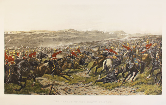 Engraving, Hand coloured restrike engraving, Charge of the Heavy Brigade No frame image. Click to enlarge