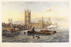 Engraving, Hand coloured restrike engraving, Westminster Large image. Click to enlarge