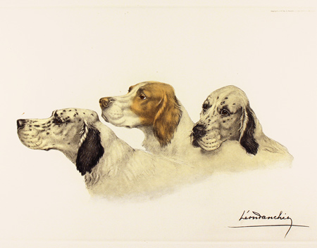 Engraving, Hand coloured restrike engraving, Three Setters No frame image. Click to enlarge