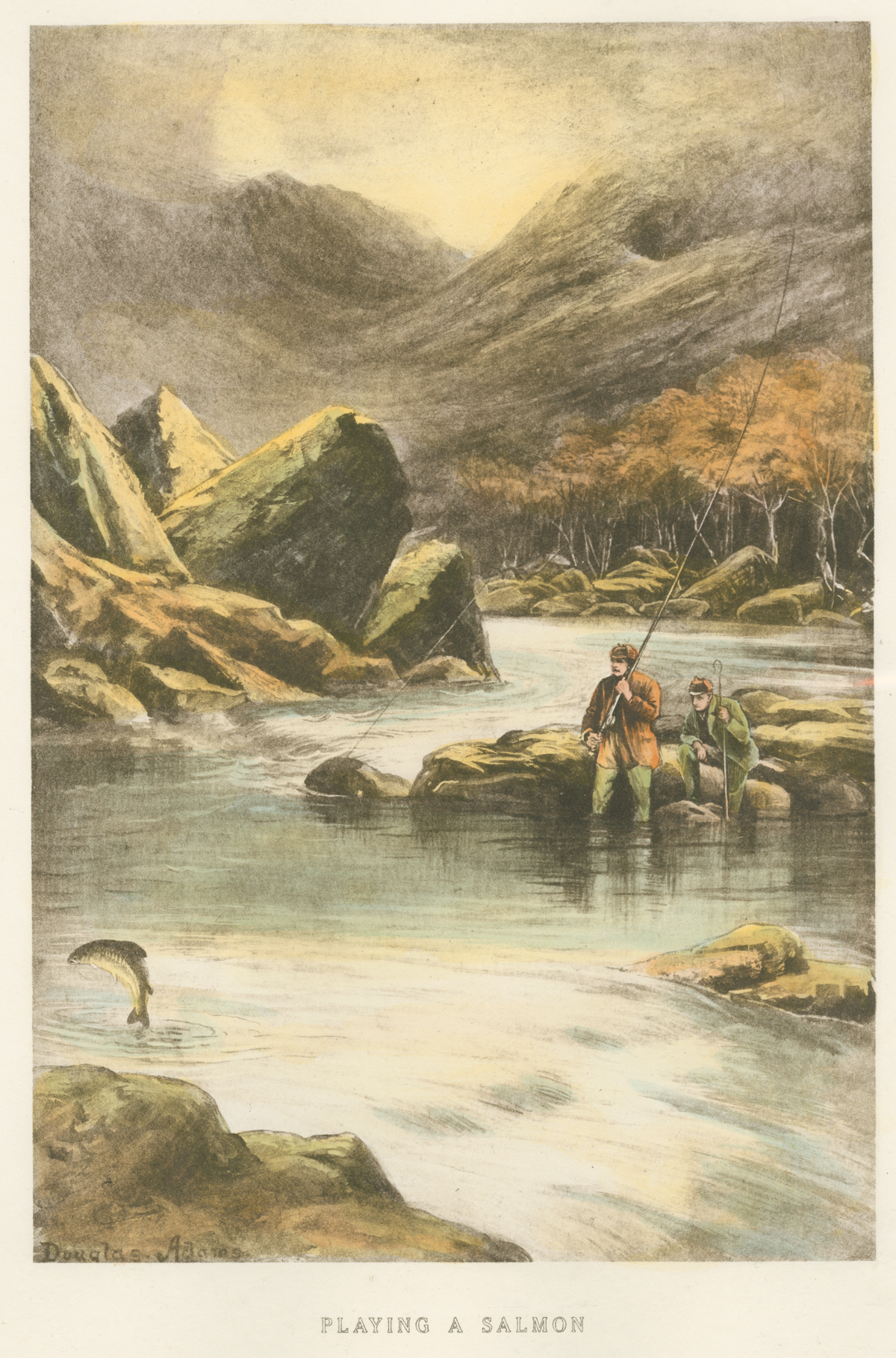 Engraving, Hand coloured restrike engraving, Playing a Salmon, click to enlarge