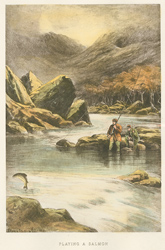 Engraving, Hand coloured restrike engraving, Playing a Salmon