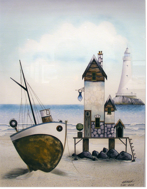 Gary Walton, Watercolour, The Seaside, click to enlarge