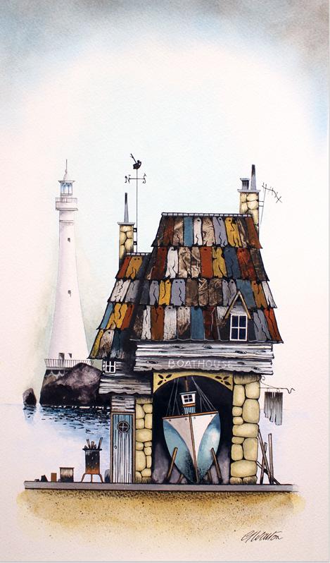Gary Walton, Watercolour, Boat House, click to enlarge