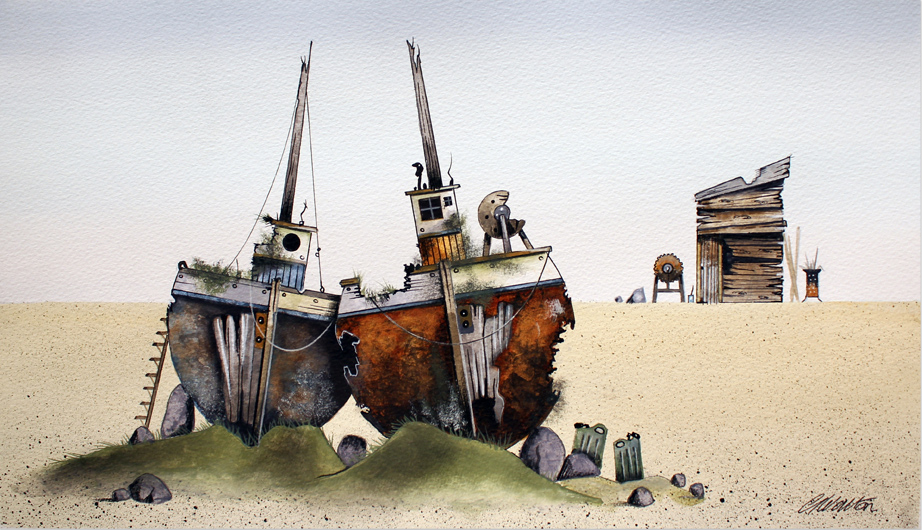 Gary Walton, Watercolour, Wrecks, click to enlarge