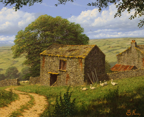 Edward Hersey, Summer in the Yorkshire Dales, Original oil painting on canvas