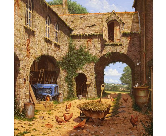 Edward Hersey, The Farmyard and Beyond, North Yorkshire, Original oil painting on canvas