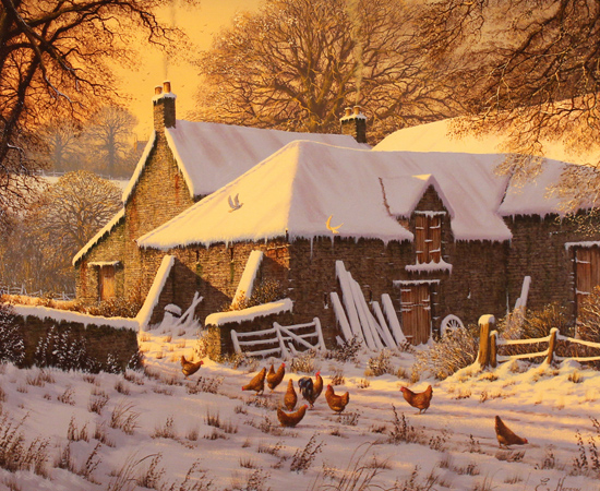 Edward Hersey, Winter Warmth, Original oil painting on canvas