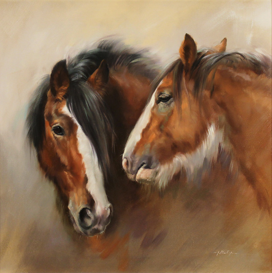 Jacqueline Stanhope, Original oil painting on canvas, Shire Horses Without frame image. Click to enlarge