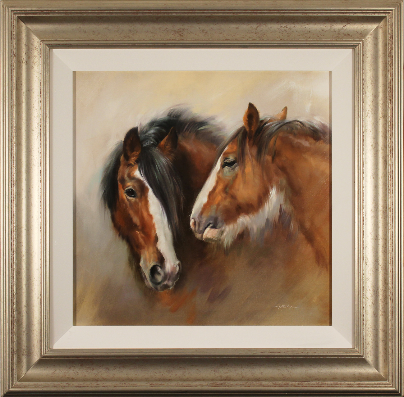 Jacqueline Stanhope, Original oil painting on canvas, Shire Horses, click to enlarge