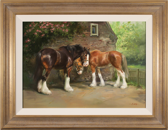 Jacqueline Stanhope, Original oil painting on canvas, Shire Horses in Spring