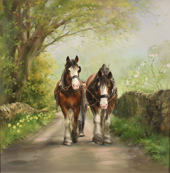Jacqueline Stanhope, Original oil painting on canvas, Shire Horses