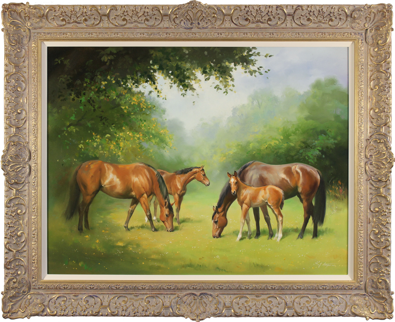 Jacqueline Stanhope, Original oil painting on canvas, Mares and Foals. Click to enlarge