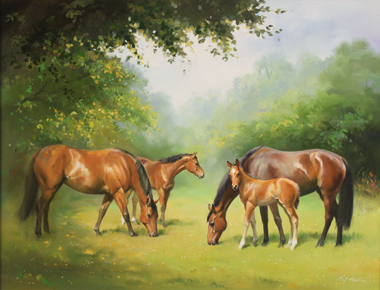 Jacqueline Stanhope, Original oil painting on canvas, Mares and Foals Without frame image. Click to enlarge