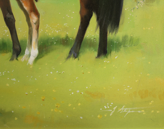 Jacqueline Stanhope, Original oil painting on canvas, Mares and Foals Signature image. Click to enlarge