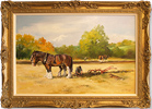 Jacqueline Stanhope, Original oil painting on canvas, Ploughing in Autumn in Northumberland