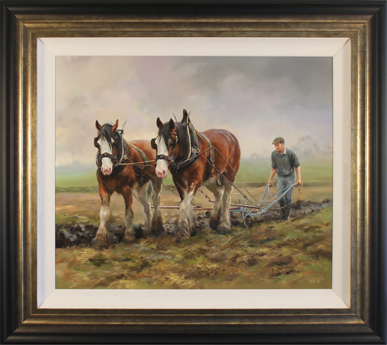 Jacqueline Stanhope, Original oil painting on canvas, Autumn Ploughing, North Yorkshire, click to enlarge