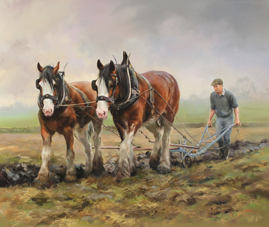 Oil Paintings Of Horses Ploughman