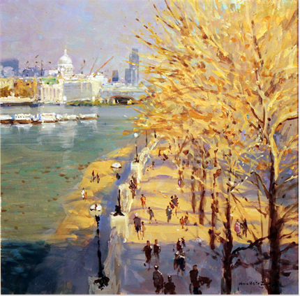 John Haskins, Original oil painting on panel, St Paul's From the Southbank Without frame image. Click to enlarge
