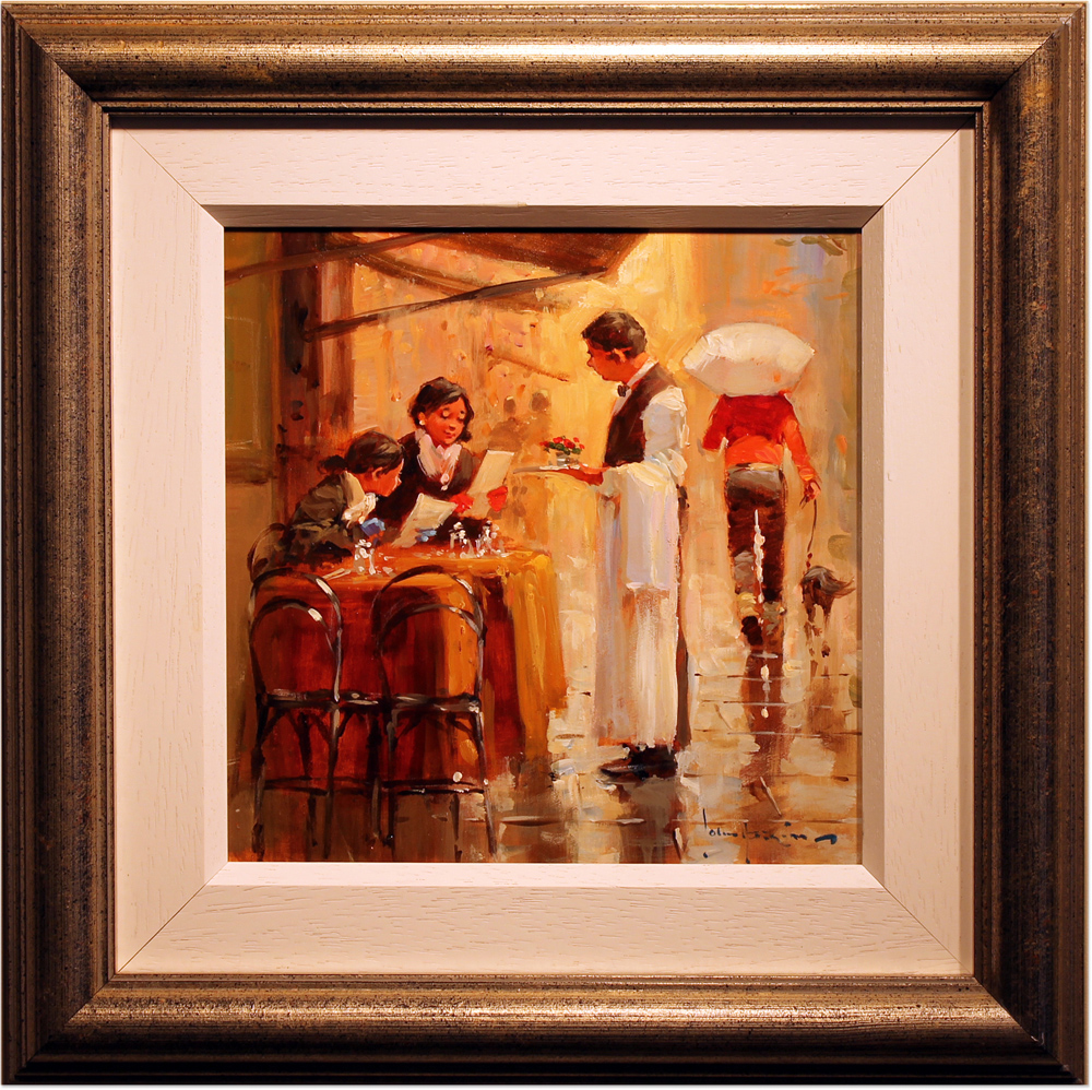 John Haskins, Original oil painting on panel, Lunch for Two. Click to enlarge