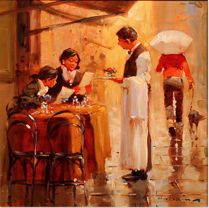 John Haskins, Original oil painting on panel, Lunch for Two Without frame image. Click to enlarge