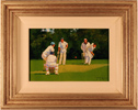 John Haskins, Original oil painting on panel, Cricket Match
