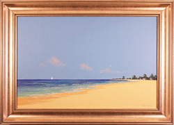 John Wood, Original oil painting on canvas, Beach Scene Large image. Click to enlarge